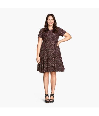 H&M+ Платье с рисунком (Черный)