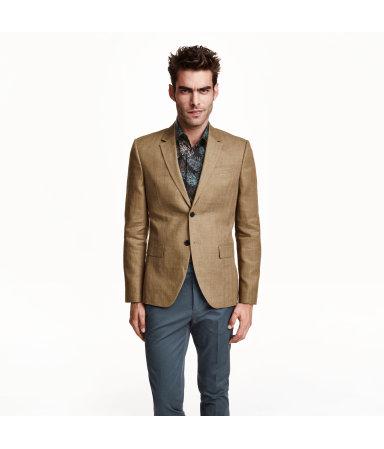 Пиджак из смесового льна (Темно-бежевый)