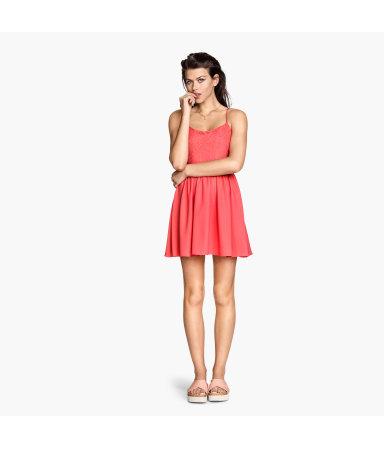 Платье с кружевным лифом (Неоново-коралловый)