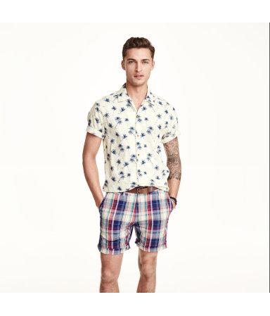 Рубашка с коротким рукавом (Натуральный белый/Пальмы)
