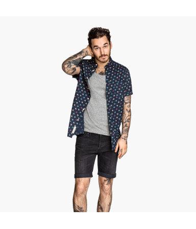 Х/б рубашка с коротким рукавом (Темно-синий )