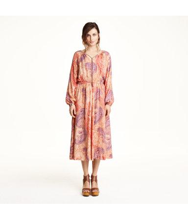 Платье с узором пейсли (Бежевый)