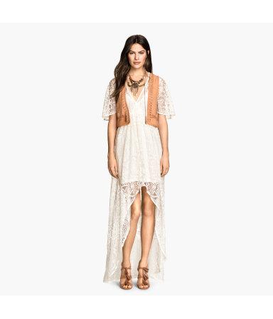 Длинное кружевное платье (Коралловый)