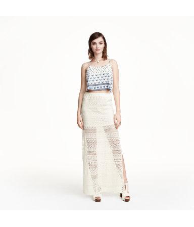 Кружевная юбка макси (Натуральный белый)