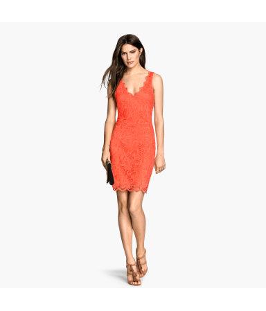 Кружевное платье без рукавов (Оранжевый)