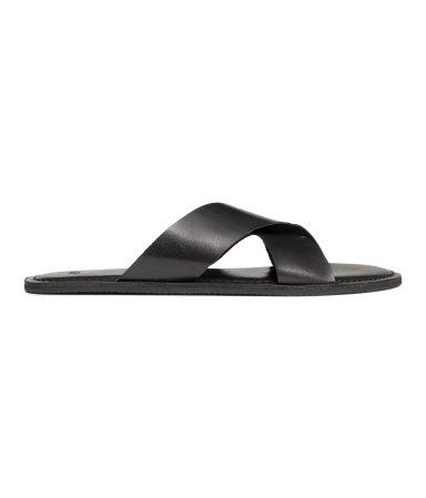 Кожаные сандалии (Черный)