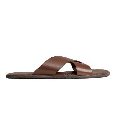 Кожаные сандалии (Темно-коричневый)
