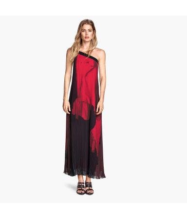 Плиссированное платье (Рисунок/Черн/Рисунок)