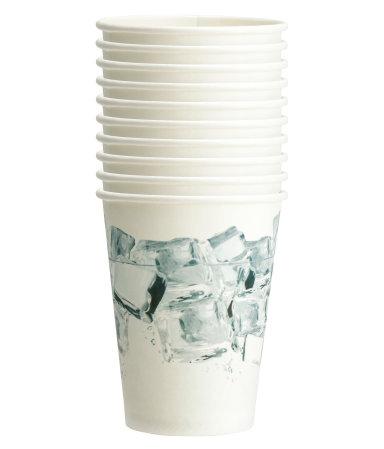 10 бумажных стаканчиков (Белый)