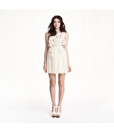 Расшитое бусинами платье (Белый)