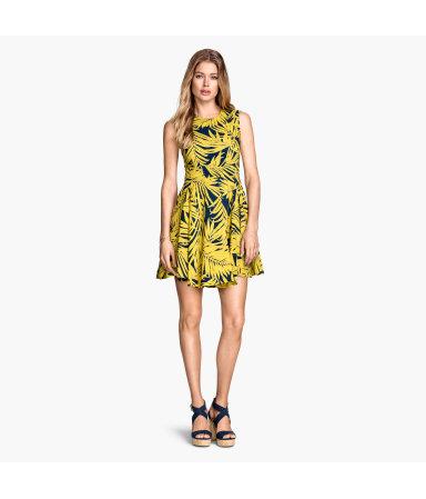 Расклешенное платье (Желтый/Узоры)
