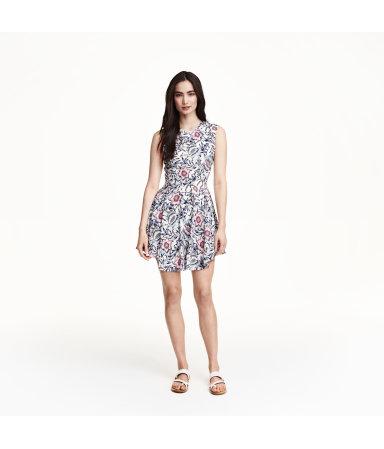 Расклешенное платье (Белый/Цветы)