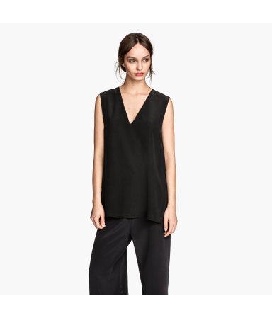 Шелковая блузка без рукавов (Черный)