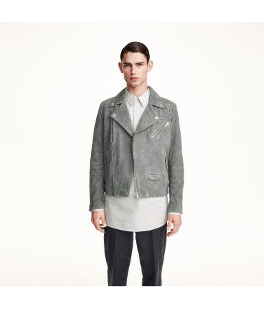 Замшевая байкерская куртка (Темно-серый)