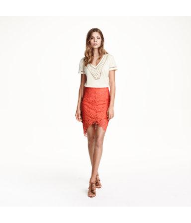 Кружевная юбка-карандаш (Коралловый)