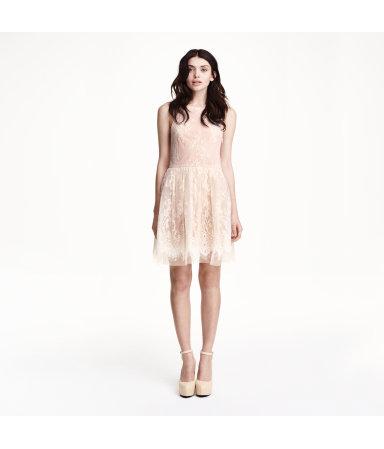 Кружевное платье без рукавов (Розовая пудра)