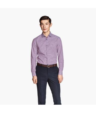 Рубашка из хлопка премиум (Темно-пурпурный/полоска)