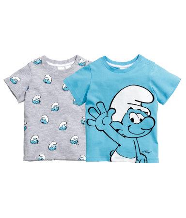 2 футболки (Голубой/Смурфы)