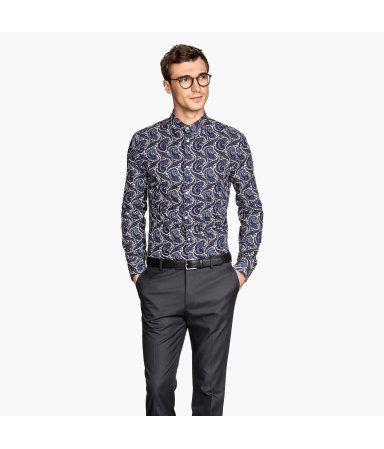 Рубашка из хлопка премиум (Синий/Рисунок)