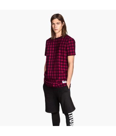 Полотняная футболка (Красный/Клетка)