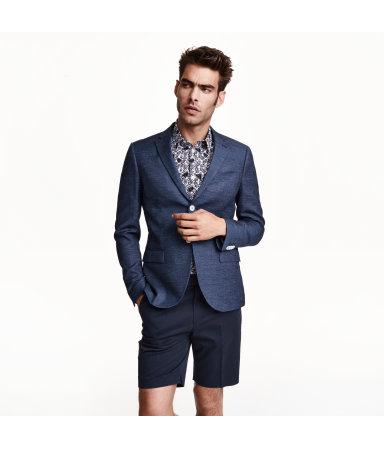 Пиджак из смесовой шерсти (Темно-синий)