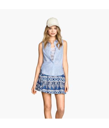 Блузка без рукавов (Светло-голубой)
