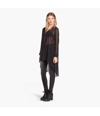 Длинная шифоновая блузка (Черный)