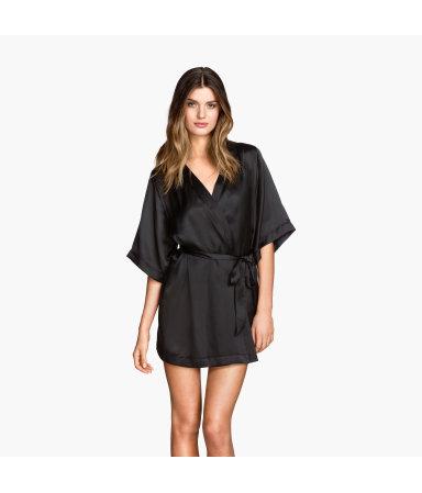 Атласное кимоно (Черный)