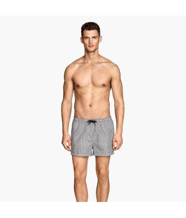 Короткие плавки-шорты (Черный/Белый/Узоры)