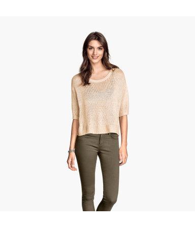 Вязаный пуловер (Светло-бежевый)