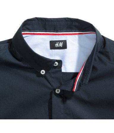 Рубашка с коротким рукавом (Темно-синий) — H&M H&M  Темно Синий Костюм Рубашка