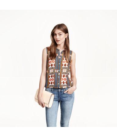 Шифоновая блузка без рукавов (Темно-синий рисунок)