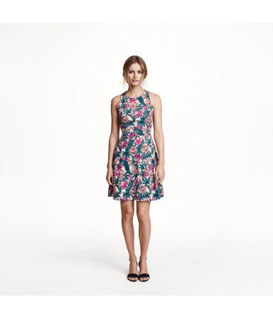 Платье без рукавов (Белый/Узоры)