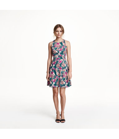 Платье без рукавов (Темно-синий рисунок)