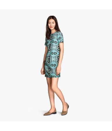 Платье с коротким рукавом (Бирюз./Рисунок)