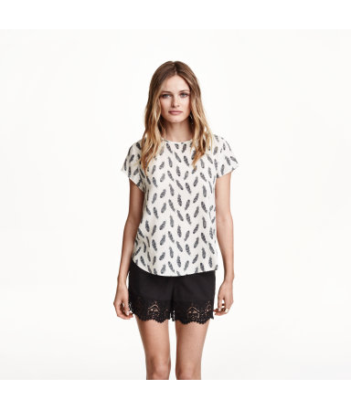 Креповая блузка (Белый/Узоры)