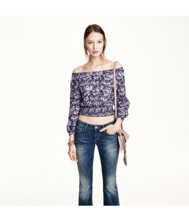 Блузка в народном стиле (Пурпурный/Мелкий цветочек)