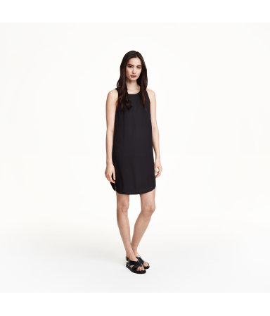 Шифоновое платье без рукавов (Черный)