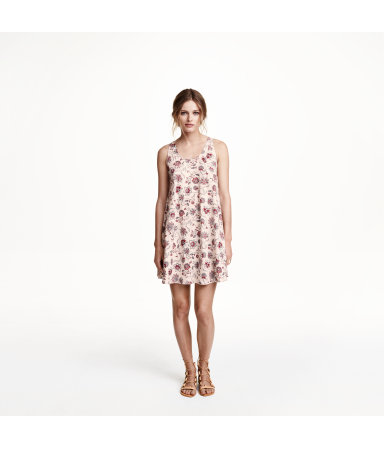 Просторное платье (Пудра/цветы)