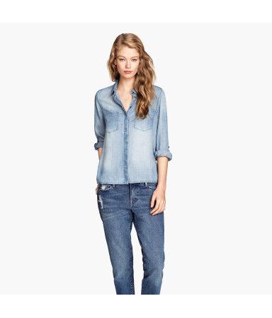 Джинсовая рубашка из лиоцелла (Синий деним)