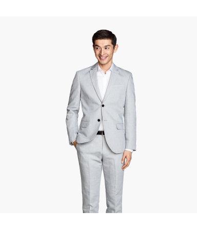 Пиджак из смесового льна (Светло-серый)