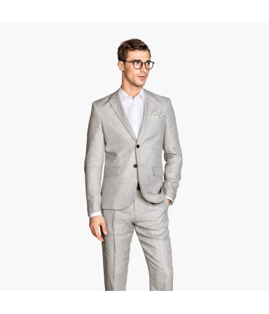 Льняной пиджак (Серый)