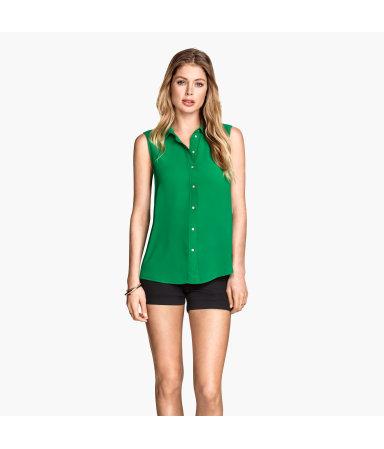 Блузка без рукавов (Зеленый)