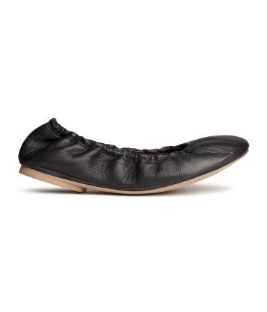 Кожаные балетки (Черный)