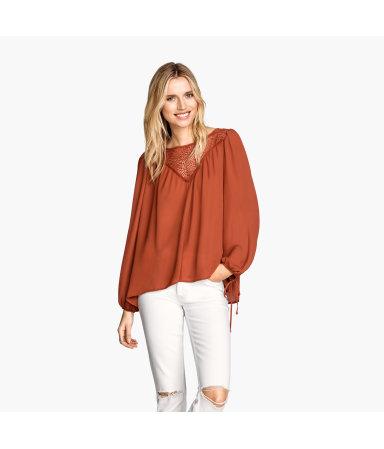 Просторная блузка (Натуральный белый)