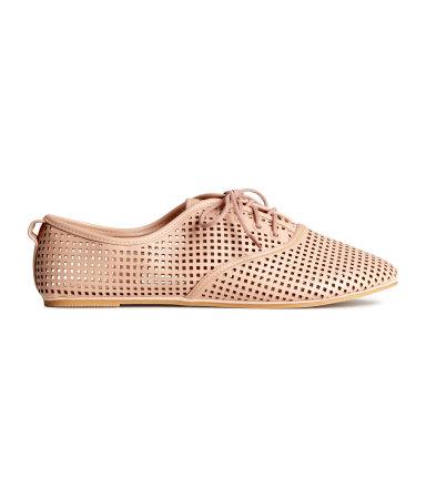 Перфорированные ботинки (Бежевая пудра)
