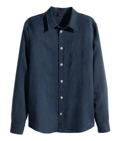 Рубашка из смесового льна (Темно-синий) — H&M H&M  Темно Синий Костюм Рубашка