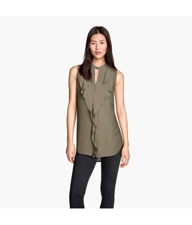 Блузка без рукавов с воланами (Хаки)