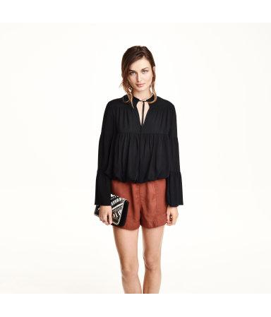 Блузка с рукавом-колокол (Черный)