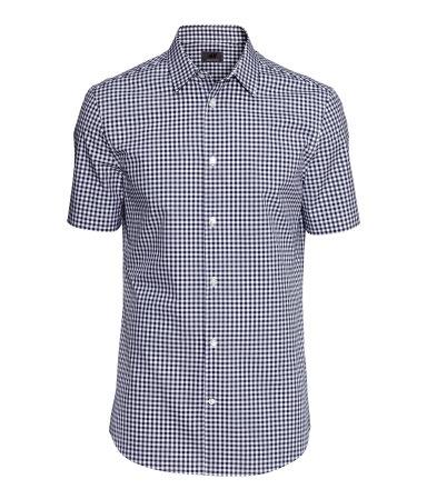 Рубашка из хлопка премиум (Темно-синий/Клетка) — H&M H&M  Темно Синий Костюм Рубашка